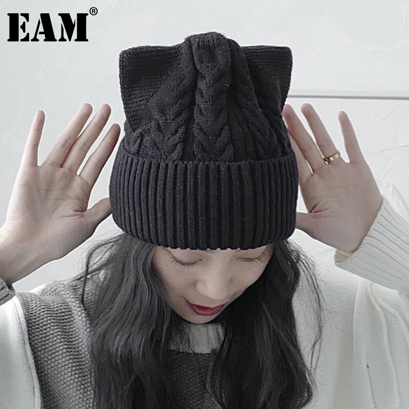 [EAM] Women Big Size Black Knitting Fishermen Hat New Round Dome Temperament Fashion Tide All-match Autumn Winter 2021 1DD1578