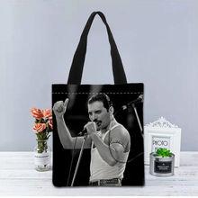 Novo personalizado freddie mercury impresso bolsa lona tote sacos de viagem de compras casual útil bolsa de ombro das mulheres