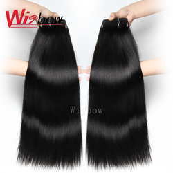 Wigbow-tissage en lot brésilien naturel Remy lisse-OneCut, Double tirage, 8 à 24 pouces, extensions de cheveux