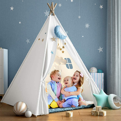 Teepee Tent for Kids Foldable Children's Play House Tents for Girl Boy Indoor Outdoor Wigwam Play House Toys for Children 1.8M