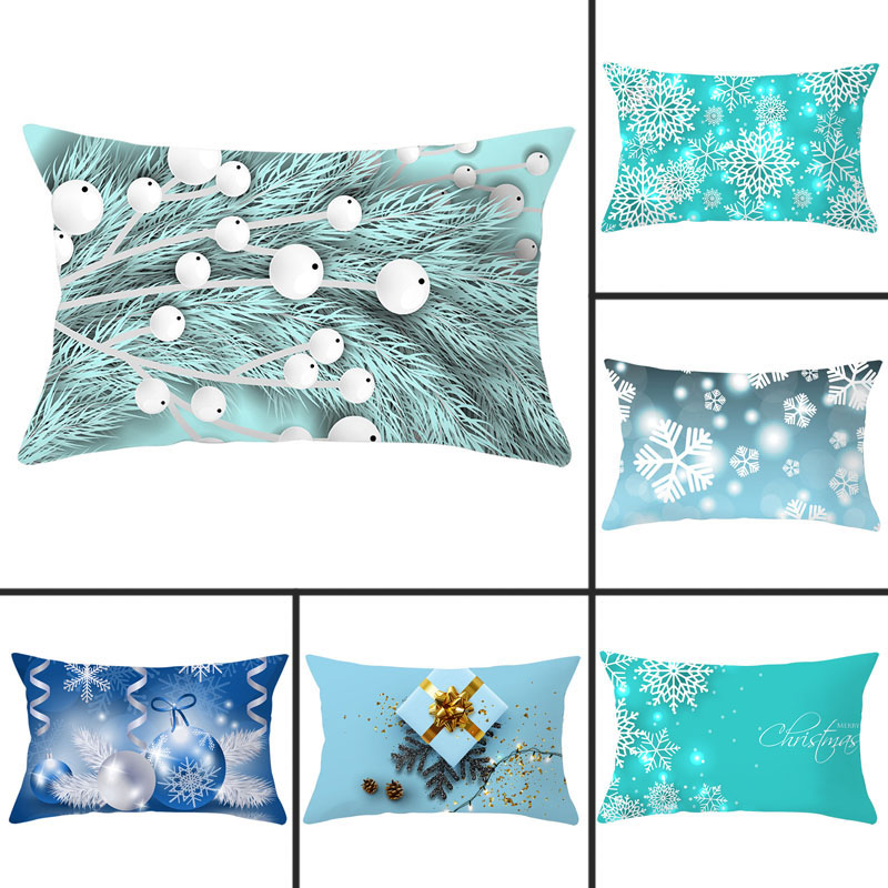 30x50cm Christmas Light Blue Snowflakes Pillowcase Polyester Peachskin Pillowcases Waist Pillow Cover Decorative Pillows Cover
