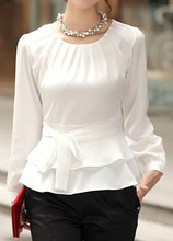 купить Fashion New Women Layered Long Sleeve White Tie Front Blouse Casual Slim Autumn Office Wear O Neck Ruffle Hem Basic Shirt в интернет-магазине