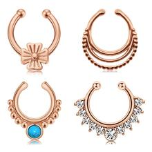 Fake Septum Rings Piercing Stainless Steel Faux Nose Rings Hoop Clip On Non Pierced Ear Cuff for Women Men 3pcs faux pearl decorated alloy cuff rings