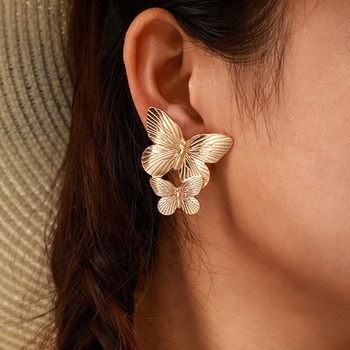 Trendy Gold Double Butterfly Stud Earrings for Women Gift Metal Wing Earrings Statement Jewelry brincos 8949 image