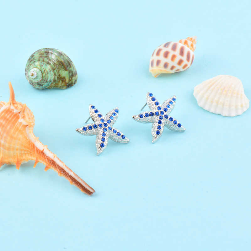 Pendientes SINLEERY con diseño de estrella de mar y estrella de mar de Color azul, rosa, plateado, pequeños pendientes de diamantes de imitación para mujer, joyería ES075 SSH