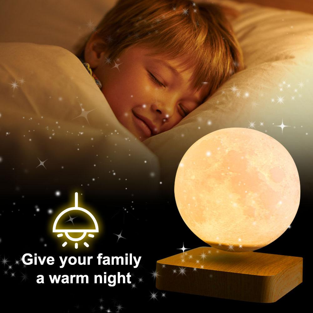Magnetic Levitation LED Moon Night Light Wooden Base 3D Moon Light Lamp Romantic Valentine's Day Birthday Gift Switch Home Decor