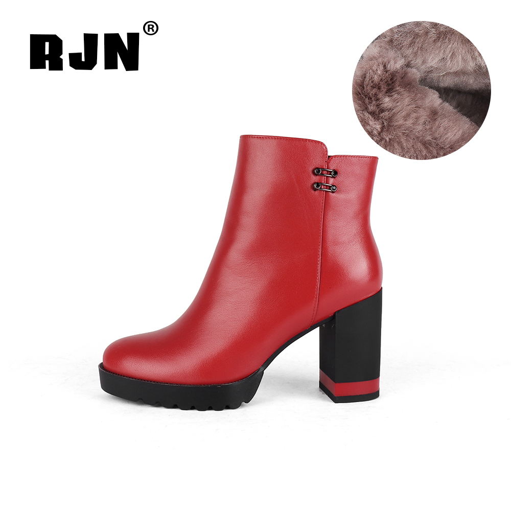 Promo RJN Fashion Wool Boots Matel Decoration Color Heel Cow Leather Classic Round Toe Zipper Shoes Women Ankle Boots For Winter R38