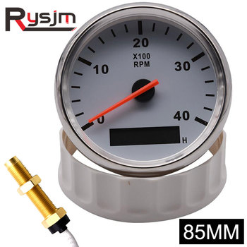 85mm tachometer + sensor Car Boat Tacho Marine Tacho Meter with LCD Hourmeter 4000 RPM Boat Tachometer 12V/24V Red Backlight 1pc new type 0 8000rpm tachometer gauges modification 85mm lcd revolution meters 9 32v rev counters with hourmeter for auto boat