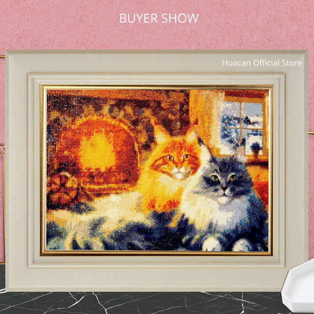 HUACAN Diamond Painting Cross Stitch Cat New Arrival Diamond Mosaic Animal Embroidery Handmade Home Decoration
