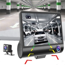 Car 3 Camera Lens 4.0 Inch Dual and Rear View Recorder Driving