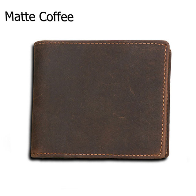 Men New Wallets Vintage Cow Genuine Leather Wallet Male RFID Blocking Handmade