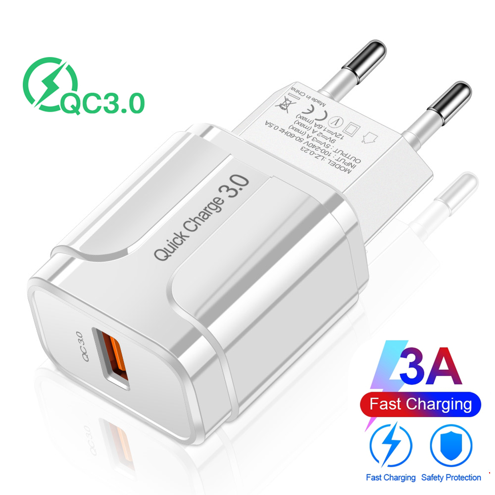 Quick Charge 3.0 USB Charger QC 3.0 18W Fast Charging EU US Plug Adapter Wall Mobile Phone Charger For iPhone X Samsung Xiaomi
