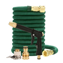 High Quality 25FT 100FT Garden Hose Telescopic Magic Hose Plastic flexible Car Wash Hose Metal Spray Gun Outdoor Garden Watering