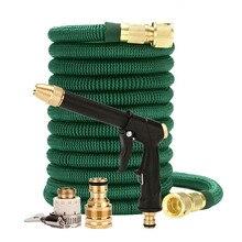 Wysokiej jakości 25FT 100FT wąż ogrodowy teleskopowy wąż magiczny plastikowy elastyczny wąż do mycia samochodu metalowy pistolet ogrodowa podlewanie