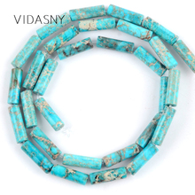 Natural Stone Lake Blue Sea Sediment Jaspers Column Beads For Jewelry Making 4*13mm Charm Loose Diy Bracelet Necklace 15