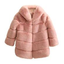 2020 Winter Girls Fur Coat Elegant Thick Warm Baby Girl Jackets Parka Hooded Children Outerwear Clothes Teenage Kids Windbreaker