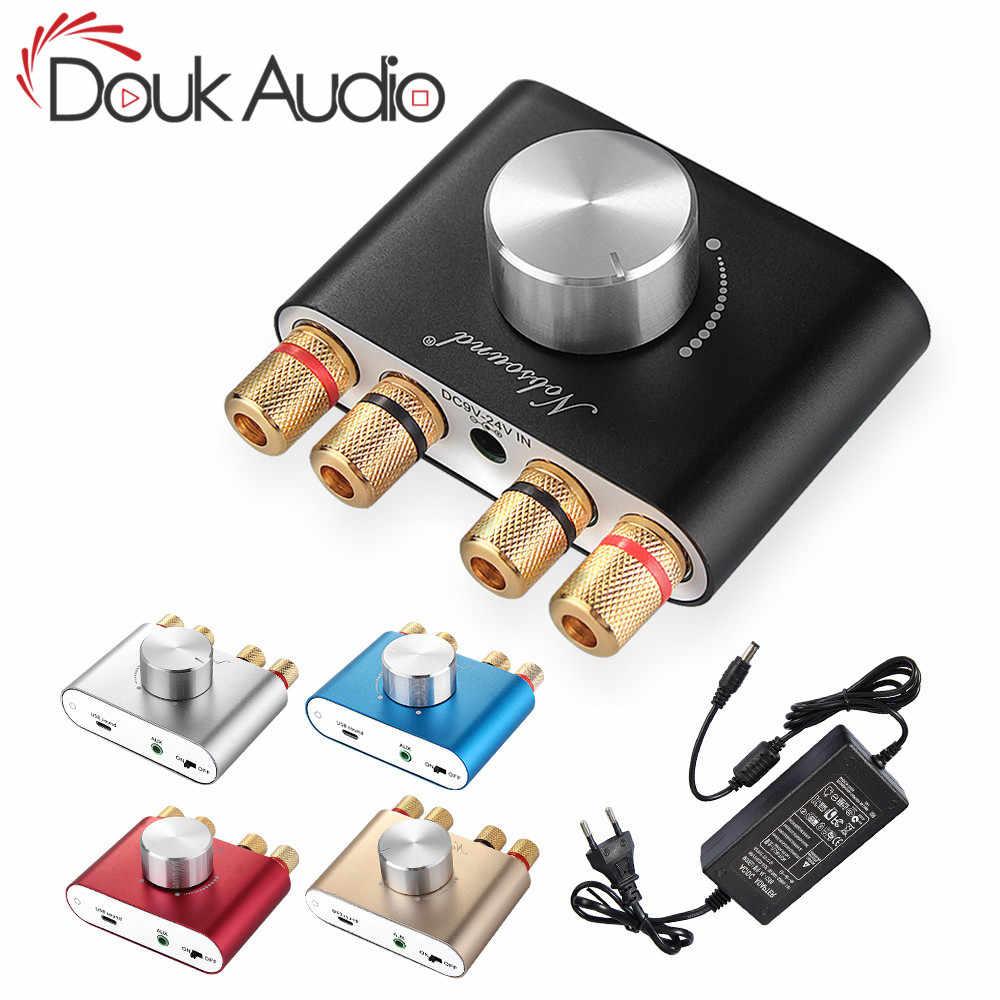 Douk Bluetooth 5.0 TPA3116 パワーアンプワイヤレスオーディオ受信機ハイファ 12 12v 車アンプホームオーディオ 50 ワット + 50 ワット