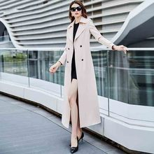 Temperament Women #8217 s trench coat women 2020 Trench coat autumn and winter new fashion over the knee long Women trench coat JK61 cheap BHIGJYT Full Broadcloth Office Lady COTTON Polyester Acetate Solid Ages 18-35 Years Old Turn-down Collar Double Breasted