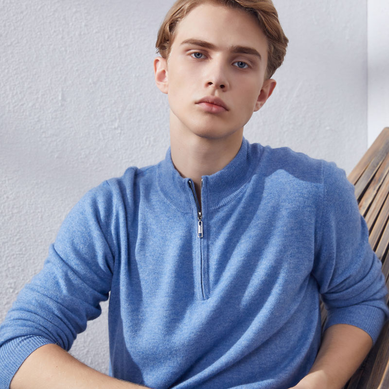 Hot Sale New Zipper Neck Sweaters Man Jumpers 100% Cashmere Knitted 7Colors Standard Clothes Men Pullovers