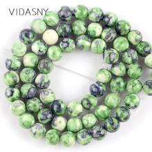 Natural Gem Green Purple Rain Flower Stone Beads For Jewelry Making 4 6 8 10 12mm Round Loose DIY Necklace Bracelet 15