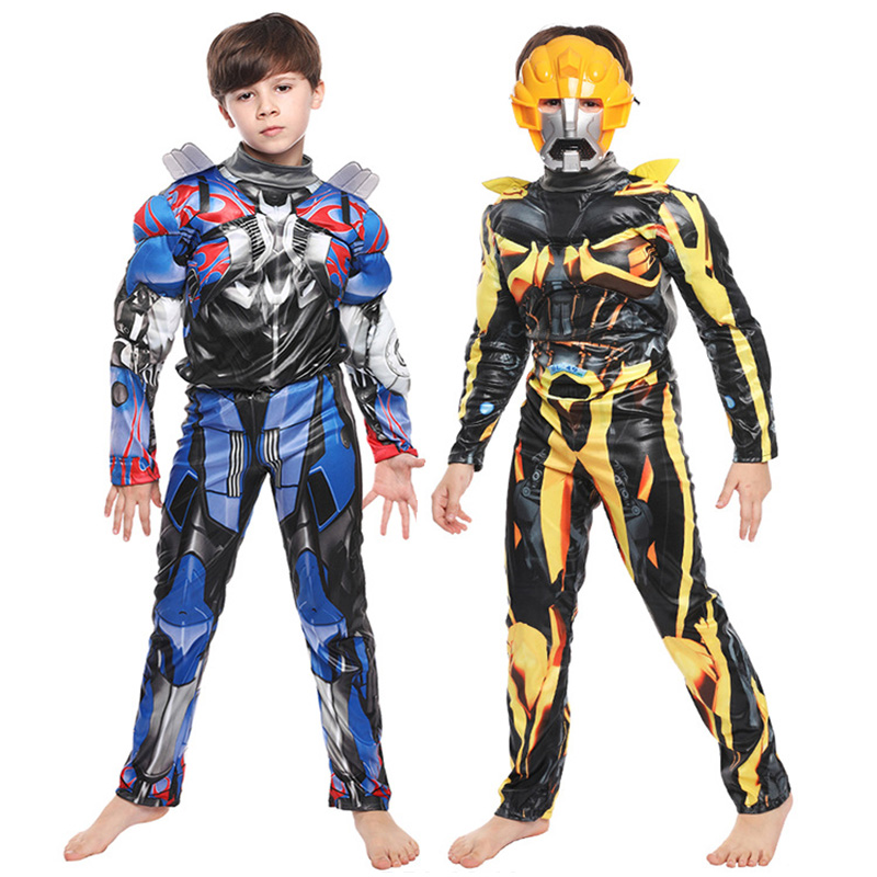 Boy Kids Purim Optimus Prime Bumblebee Muscle Costume Transformers Cosplay Halloween Carnival Party Fancy Dress