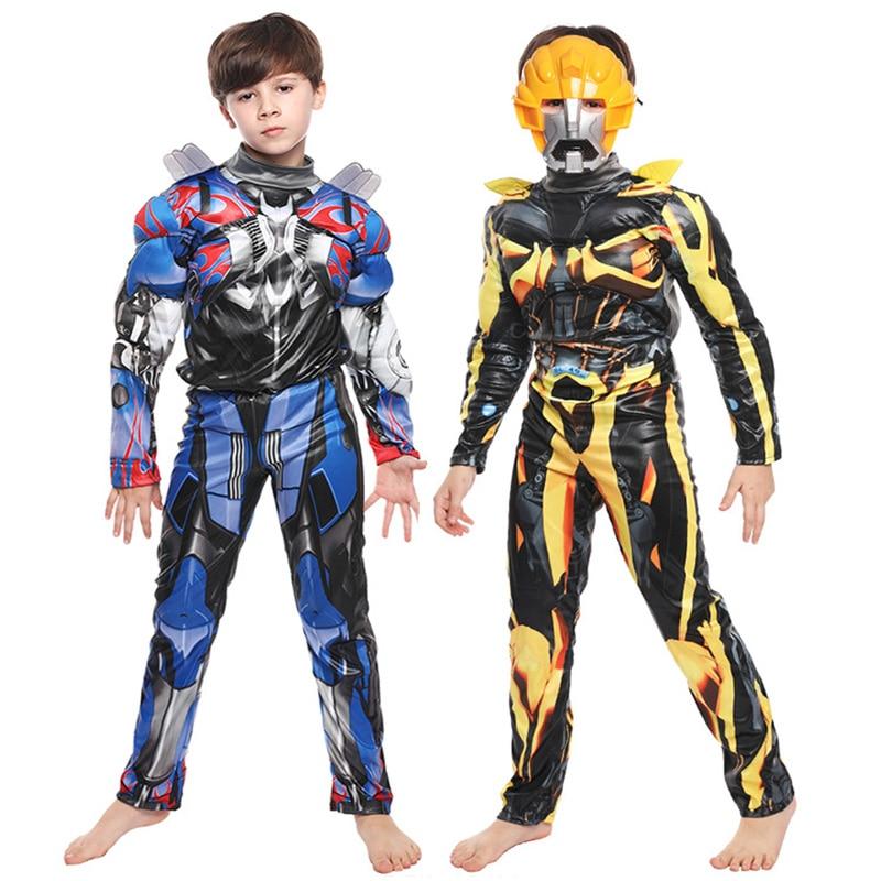 Boy Kids Purim Optimus Prime Bumblebee Muscle Costume Transformers Cosplay Halloween Carnival Party Fancy Dress