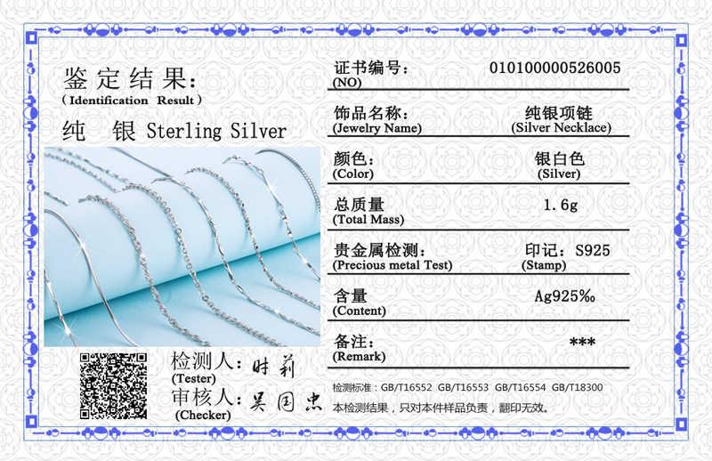 YANHUI z certyfikatem klasyczny łańcuch podstawowy 100% 925 Sterling Silver naszyjnik kobiety akcesoria Chain Fine Jewelry SCA009-45