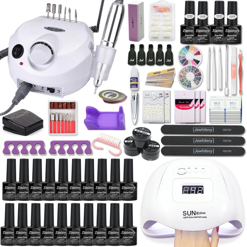 Manicure-Set Tools-Set Nail-Polish-Kit Nail-Drill-Machine 120W with Led 20/10-Color Uv-Gel