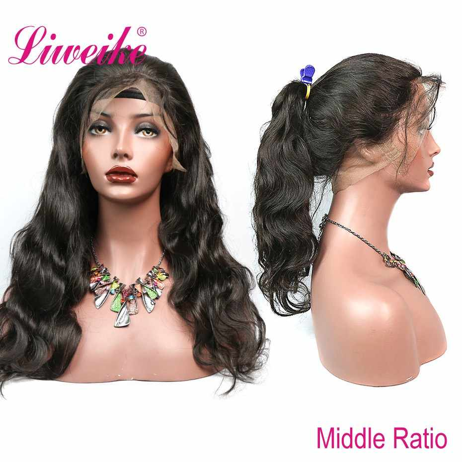 Liweike 360 Lace Wig Body Wave Pre Plucked With Baby Hair Brazilian Remy Human Hair Med Brown Lace 150% Density Wigs #1B Color