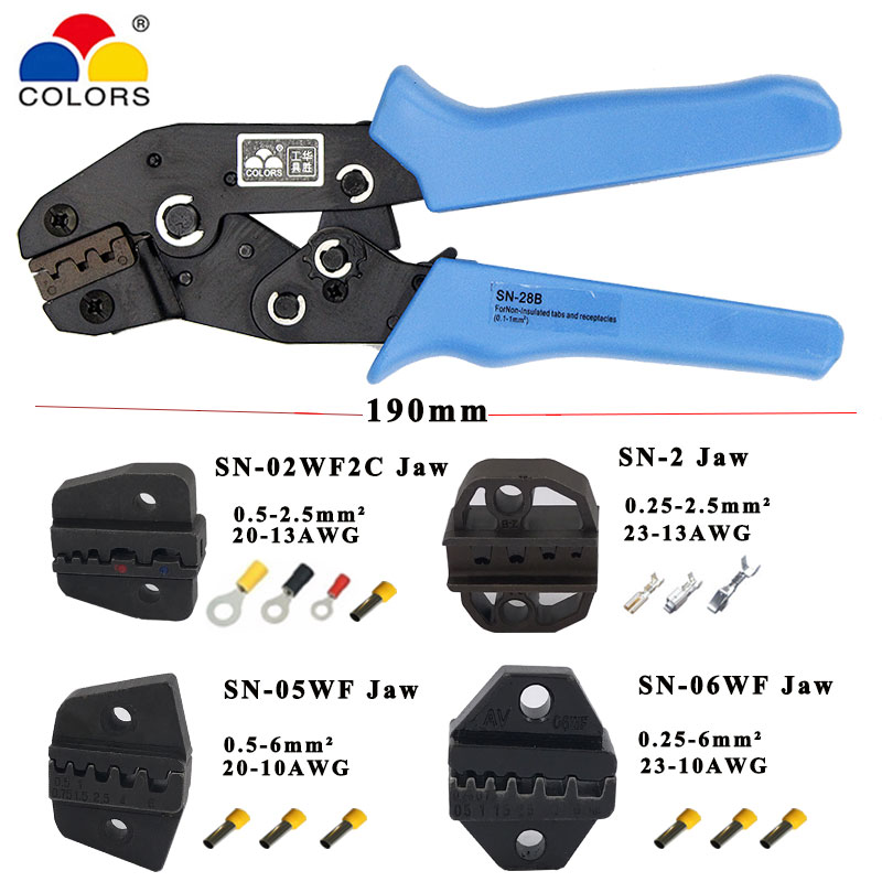 Crimping Pliers Jaw For 190mm Pliers Flag Types Female Insulation Terminal SN-28B SN-48B SN-02B SN-02C  High Hardness Jaw Tools