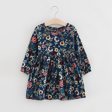 2 3 4 5 6 7 8 Year Girls Dress Long Sleeve Floral Kids Dresses for Sweet O-neck Toddler Children Princess Clothing