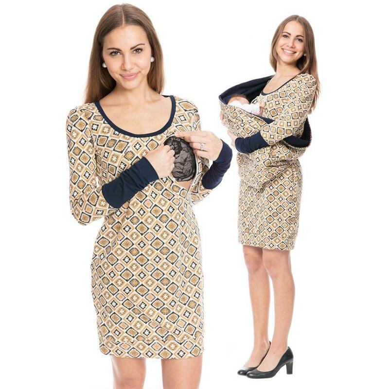 Pregnant Women Carry Baby Pregnancy Clothing Keep Warm Carrier Kangaroo Maternity Dress Long Sleeve