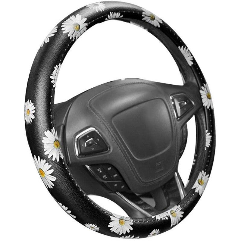 Car Daisy Sunflower Automotive Steering Wheel Cover Anti Slip Universal  Car Handle Steering Covers Lady Fashion for Universal 1|Steering Covers| |  - title=
