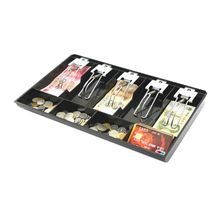 9 Grids Black Plastic Coin Money Storage Box Bill Cash Tray Organizer With 5 Removable Metal Clips