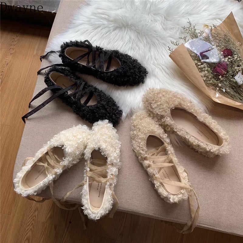 Woolen sapatos feminino inverno wear 2019 nova rede vermelha com o mesmo parágrafo chique inferior plana rendas sapatos de balé encaracolado