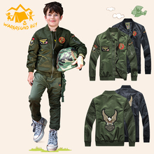 Spring and Autumn Childrens Jacket Kids Handsome Baseball Suit Boy Scout Green Windbreaker Baby Bomber