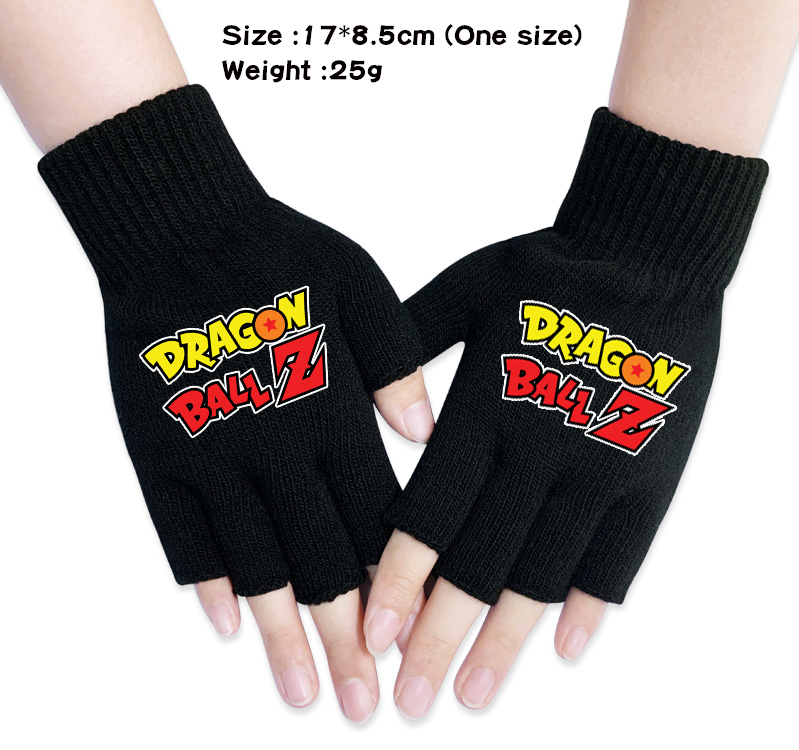 Anime Gloves Dragon Ball Z Cartoon Gloves Goku Vegeta Saiyan Mittens Winter Warm Knit Half Finger Glove Gift