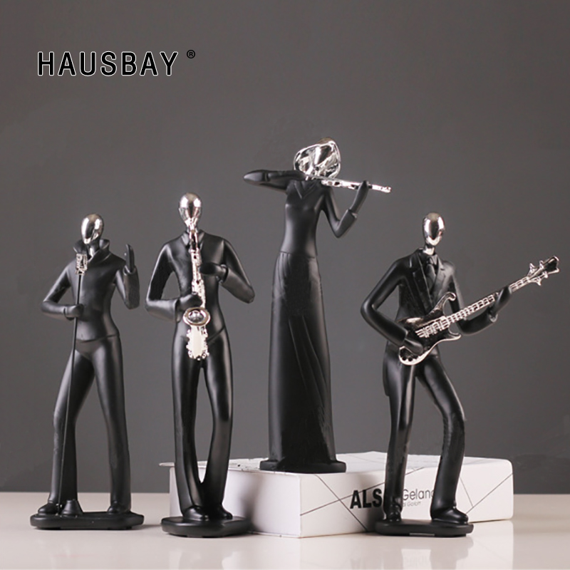 Resin Music Man Guitar Saxophone Statue Black Figurines Creative Crafts Simple Wine Cabinet Desktop Ornaments Home Decor D095