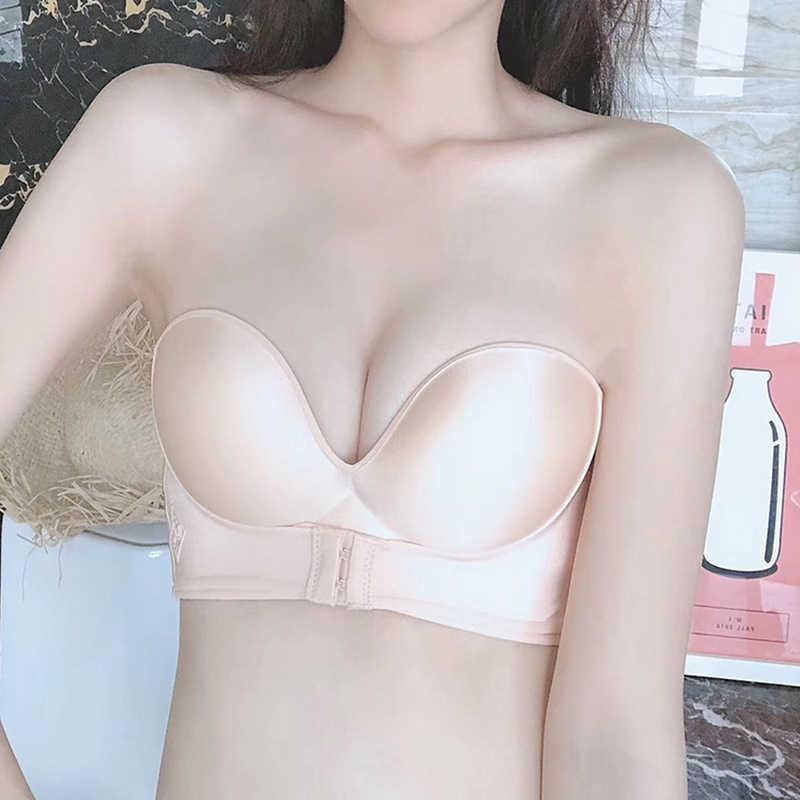 Lưng Giữa Sexy Gợi Cảm Áo Ngực Bra Nữ Vô Hình Áo Ngực Push Up Quần Lót Ren Hở Lưng Áo Liền Mạch Áo Bralette Quần Lót Váy Cưới # F