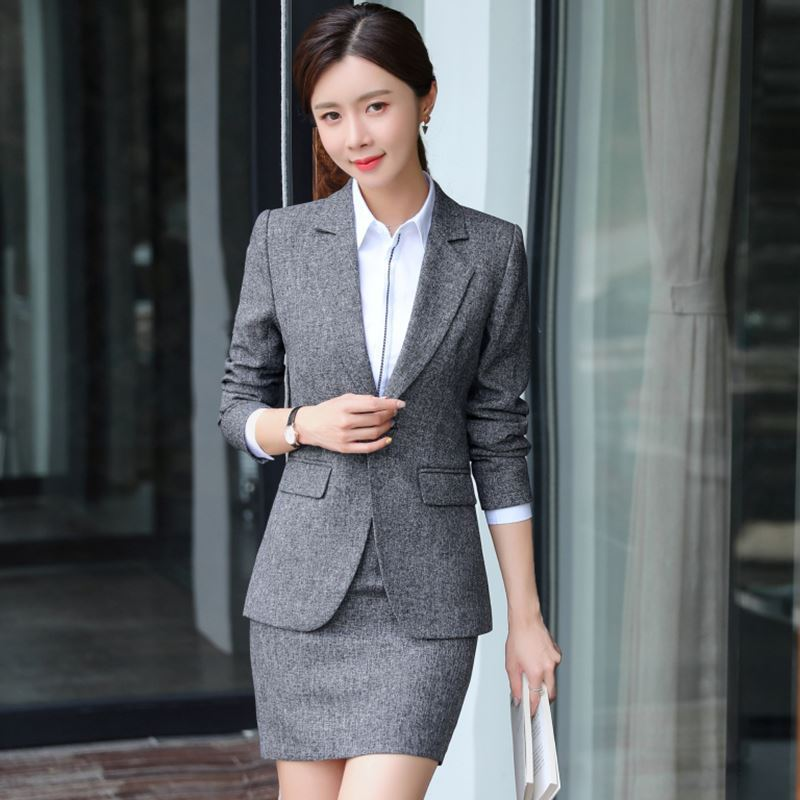 Gray Formal Elegant Uniform Styles Blazers Suits Two Piece with Tops and Skirt for Ladies Office Work Wear Jacket Blazer Sets