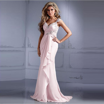 2021 Wholesale Charming Ice Pink Chiffon Cap Sleeve Mother of the Bride Dresses Deep V Neck Beaded Wedding Party Dress Back Out
