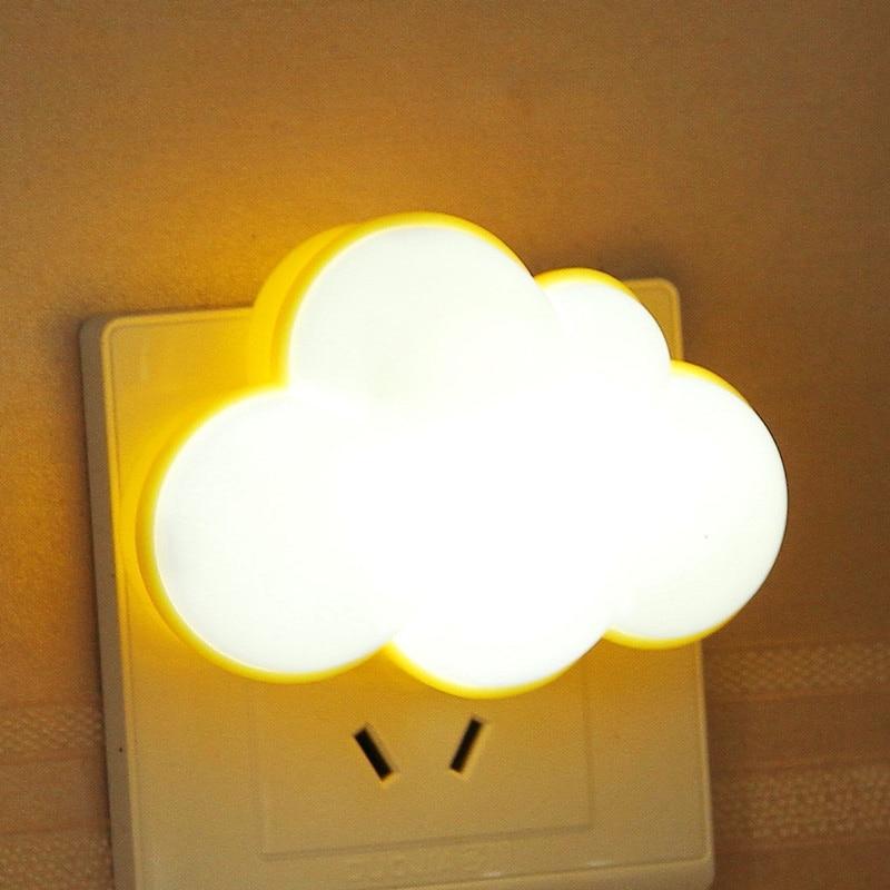 WoodPow Light Sensor Control Night Light Cloud Shape EU US Plug Novelty Children's Night Lamp For Baby Room Gift Illuminator