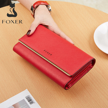 FOXER Split Leather Chic Clutch Wallets for Women Stylish Fe