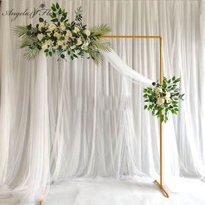White gold square arch shelf party event wedding props arch iron stand stage backdrop frame decorative artificial flowers stand
