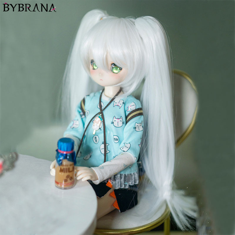 Bybrana Bjd Doll Wig Neat Bangs Tiger Clip Double Ponytail Anime Wig Customizable Color