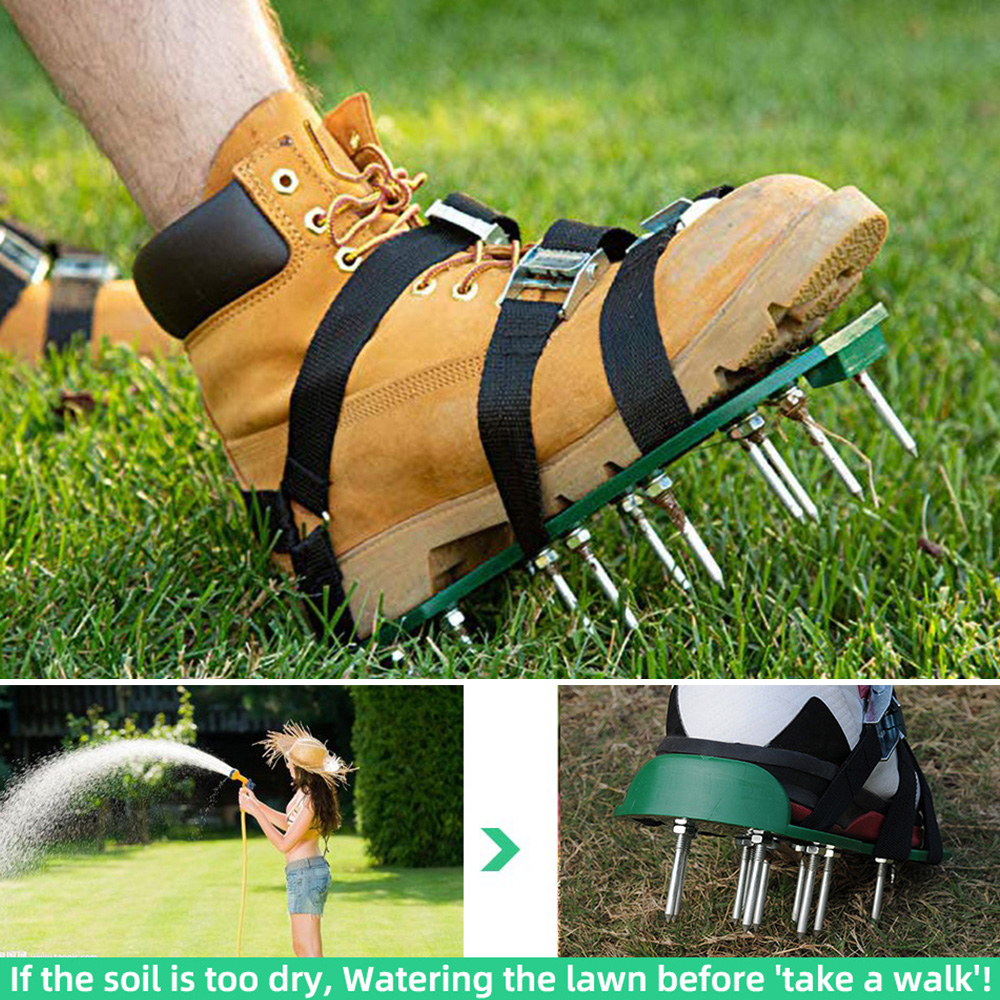 2 Adjustable Straps Spiked Sandals Shoes Lawn Aerator Shoes Metal Buckles Fits All Spikes Shoes Grass Aerating Spike Sandals