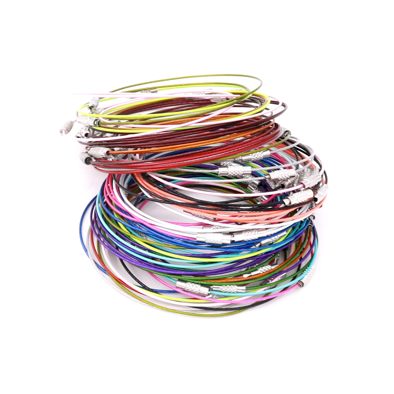 Image 3 - 100pcs Stain steel wire 9inch Keychain ring key keyring circle rope cable loop For DIY Jewelry Findings Bangle Bracelet MakingJewelry Findings & Components   -