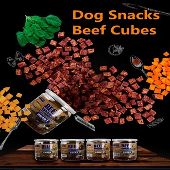 Pet Food Dog Snacks Small Medium Dogs Beef Vegetable Strips Delicious Fresh Beef Cubes Pet Supplies Training Reward Canned 180g 1