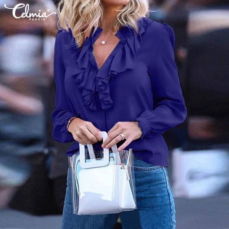 Top Fashion 5XL Celmia Women Blouses Sexy Long Sleeve Ruffles Loose Elegant Vintage Casual Plue Size V Neck Office Lady Shirts 7