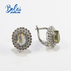 bolaijewelry,Natural labradorite oval 7*9mm earrings, 925 sterling silver, suitable for any occasion to wear trendy accessories